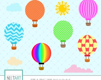 Hot air balloon clipart, Sun clipart, Clouds clipart, Vector graphics,  Digital Images - CL 045