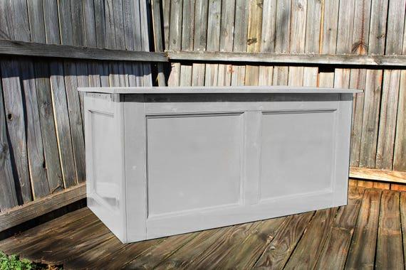 Cofre de madera mesa entrada pecho tronco gris pecho de