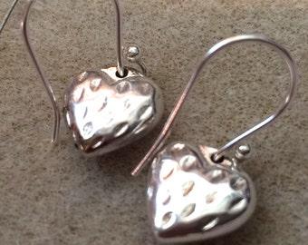 Heart Earrings Strawberry Love Earrings on French wire. Handmade.