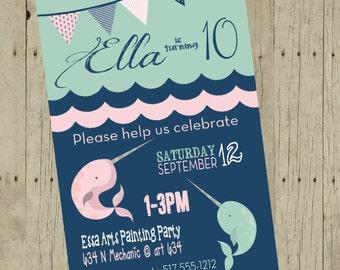 Narwhal Birthday invitation, Nautical invite, Narwhal  Birthday, baby shower, Anchor , Birthday Invitation,  Mint green blue