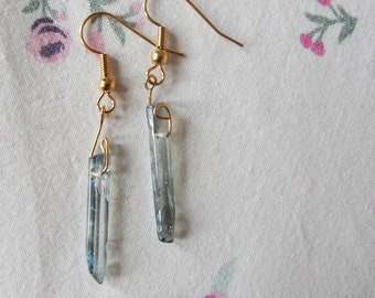 Gold Plated Clear/Blueish Quartz Crystal Drop Earrings