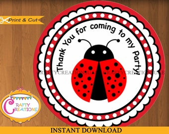 INSTANT DOWNLOAD - Ladybug Labels - Printable Thank You Favor Tag Sticker -Ladybug  - Favor Tag - Birthday Party Decorations - Baby Shower