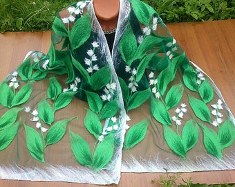 Nuno scarf flower shawl lily of the valley on the green emerald tulle grid large scarf with white flowers scarf made of felt unique wrap