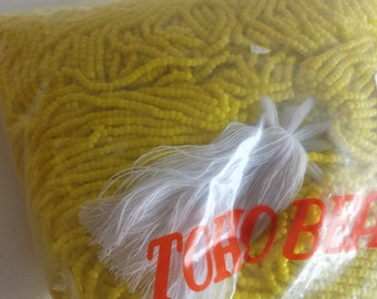 12/0 - 3 cut Toho Opaque Light Yellow Seed Beads --- 1/2 kilo