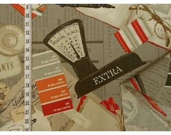 Yuwa Fabric, Art Supply Fabric - Suzuko Koseki 825160 C - Orange & Gray - Priced by the 1/2 yard