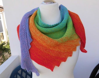 shawl, scarf, stole, tooth edge, hand knitted, gradient cotton, yarn Wollium, color gradient, rainbow,