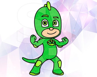 PJ Masks Gekko SVG DXF Eps Layered Cut Files Cricut Designs Silhouette Cameo Superhero Party Supply Decoration Stencil Vinyl Tshirt Decal