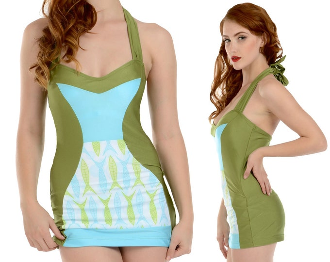 Tori Halter Swimsuit Swim Dress in Green Fish Print XS ONLY!!
