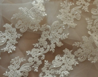 Ivory Beaded Alencon Lace Trim , Bridal Veil Lace, Scallop Wedding Gown Lace Trim , Bridal Dress Straps