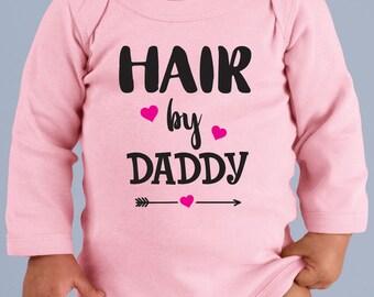Hair by Daddy Infant Long-Sleeve Baby Rib Bodysuit Onesie