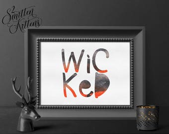 Wicked Watercolor Halloween Printable Art, Wicked Halloween Art Print, Boo Halloween Printable Sign, Instant Download, Printable Art WHIMSY