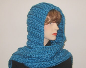 Medium Blue Long Scarf With Hood, Long Fall Scarf, Crochet Scoodie Scarves, Blue Hat, Crochet Scoodie Scarf, Elizabeth B3-034