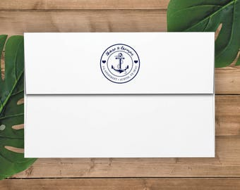 Calligraphy and Anchor Return Address Rubber Stamp - Custom Made, Self Inking, Personalized