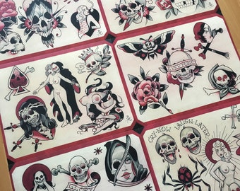 Black, Red, & Dead Tattoo Flash Set 19 by Brian Kelly. 6 Sheets.