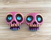 Skull earrings, Pink Blue...