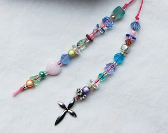 Delicate Cross, Pastel Beaded Bookmark OOAK - Inspiration, Spiritualty, Faith - Perfect for Young Girl