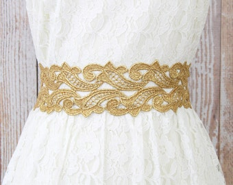 Wide Metallic Gold Lace with Old Gold Ribbon Sash Belt, Bridal Gold Lace Sash, Bridesmaid Sash ,Flower Girl Sash