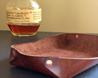 LEATHER VALET TRAY - Groomsman Gift - Groomsmen Gifts - Leather Catchall - Leather Catch All - Key Tray - Best Man Gift - Leather Gift