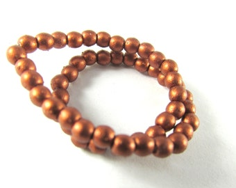 3mm Dark Burnished Copper Rust Matte Czech Glass Round Druk Jewelry Beads  - 1 strand 50