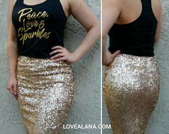 Matte Champagne Pencil Skirt - Oval Sequins - Stretchy beautiful knee length (S,M,L,XL) Made in LA! Ships asap!