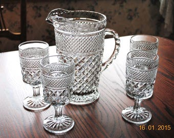 6 Anchor Hocking Wexford Water Goblet and Pitcher