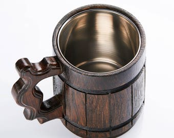 Handmade Wooden Beer Mug - Dark Oak Wood Pint Beer Stein Tankard With Steel Liner - Gift For Craft Beer Enthusiasts