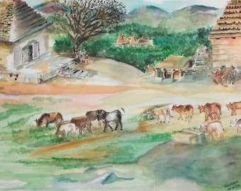 A Day in Rural India: Original Watercolor Painting(not a print)