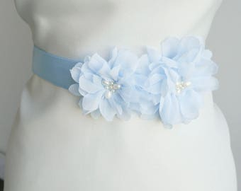 Light blue Flower Bridal Sash, Wedding Sash, Bridal Gown Sash, Pale blue Flower Belt, Wedding Dress Sash, Formal Dress Sash, Blue sash