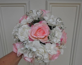 """Carmen"" - pink white powder and silver bridal bouquet - artificial flowers"