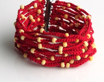 I Love Tomato Red Crocheted Cuff, Wide Thick Cotton Bracelet with Tiny Bone Beads, Artist's Original Fiber Cuff. Vogue Crochet 2012