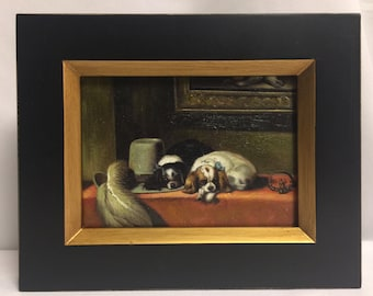 """Framed Oil Painting 8""""x 10"""" Dogs"""