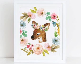 Deer Art Print, Printable Deer, Deer Watercolor Floral Art Print, Woodland Art Print, Instant Download, Digital Print, Woodland Nursery