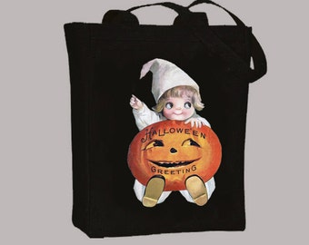 Vintage Halloween Baby Clown with Pumpkin Jack-o-Lantern Black or Natural Canvas Tote -- Selection of sizes available