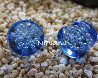 "Transparent Light Blue Bubble Plugs Pyrex Glass  00g 7/16"" 1/2"" 9/16"" 5/8"" 3/4"" 1"" 9.5 mm 10 mm 12 mm 14 mm 16 mm 18 mm 20 mm 22 mm 25 mm"
