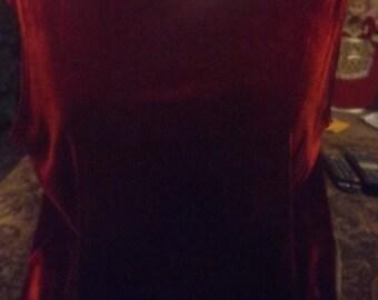SALE Womens Vintage Dark Red Velvet Holiday Evening Shirt Large