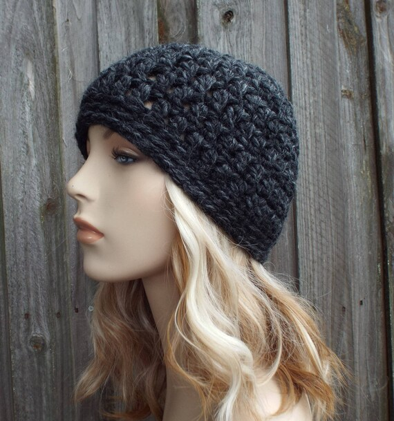 Charcoal Grey Beanie - Crochet Womens Hat Mens Hat - Warm Winter Hat - READY TO SHIP