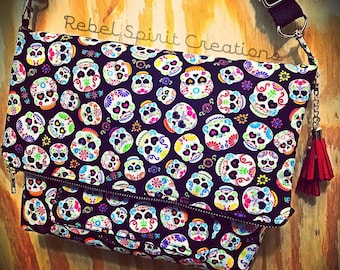 Sugar Skull Cross Body Bag / Purse / Day of the Dead / skulls / neon / Dia De Los Muertos