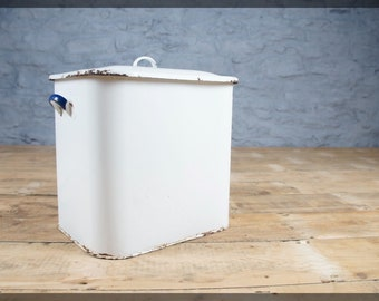 Vintage White & Blue Enamel Bread Bin - Classic Design - Retro Kitchen Storage - Compost or Recycling Bin
