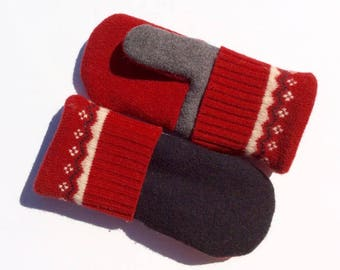 Felted Wool Mittens, Teal and Gray,  Sweater Mittens, Fleece- Lined Mittens, Eco Gift, Gift for Her, Christmas Gift, Upcycled Clothing