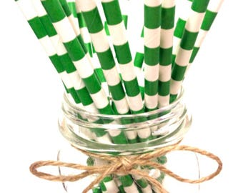 25 Green Stripes paper straws // baby bridal shower decorations /candy dessert buffet table / Christmas //St Patrick's / new year party