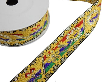 Sari Ribbon 45ft -- Yellow Sari Ribbon with Rainbow Colored Floral Pattern -- ONE ROLL (S102B4-02)