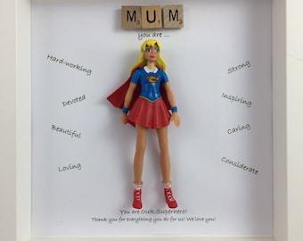 Superhero women personalised frame - Batwoman - Wonderwoman- Supergirl - birthday  present - Mother's Day - mummy my hero- sister gift