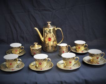 set caffe\u0027 thè porcellana vintage cups saucers Mitterteich Bavaria teapot milk jug sugar bowl Kronester Bavaria gold platedsimilar stones & splendid teapot and sugar bowl with two cups of porcelain