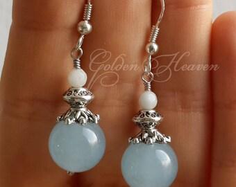 Light Blue Earrings Jade Earrings Amazonite earrings Sky Blue earrings light Blue and white earrings Amazonite Jewelry 925 sterling hooks