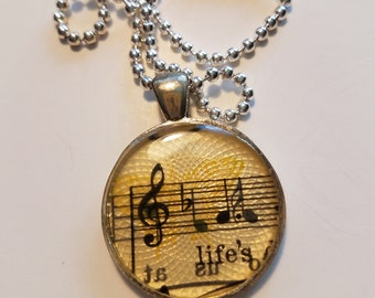 "Vintage Sheet Music Pendant with ""life's"" Lyric & Ball Chain Necklace"