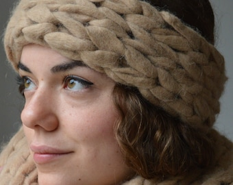 Alpaca Chunky Knit Headband And Ear Warmer