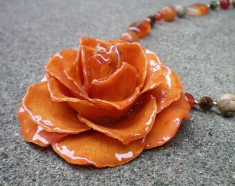Free Shipping REAL Orange ROSE and Shades of Orange Carnelian 14k Gold Filled Statement Necklace