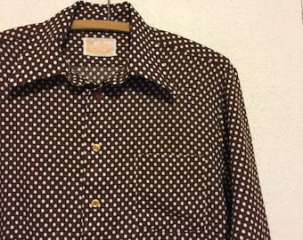Vintage 1970s Brown & White Polka Dot Polyester Shirt ~ M