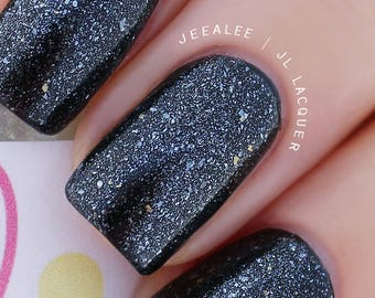 """Doctor Who Inspired - """"Planet Midnight"""" Clear Glitter Topper Nail Polish with small Flakies, Silver Pearl - Indie Nail Polish, Handmade"""