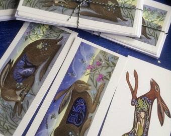Hare Postcards With Envelopes x6/ Spring/Brown Hare/By Karen Davis